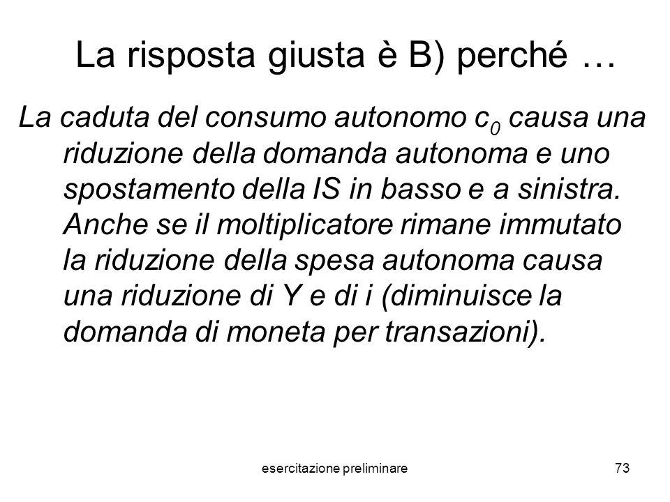 esercitazione preliminare73 La risposta giusta è B) perché … La caduta del consumo autonomo c 0 causa una riduzione della domanda autonoma e uno spost