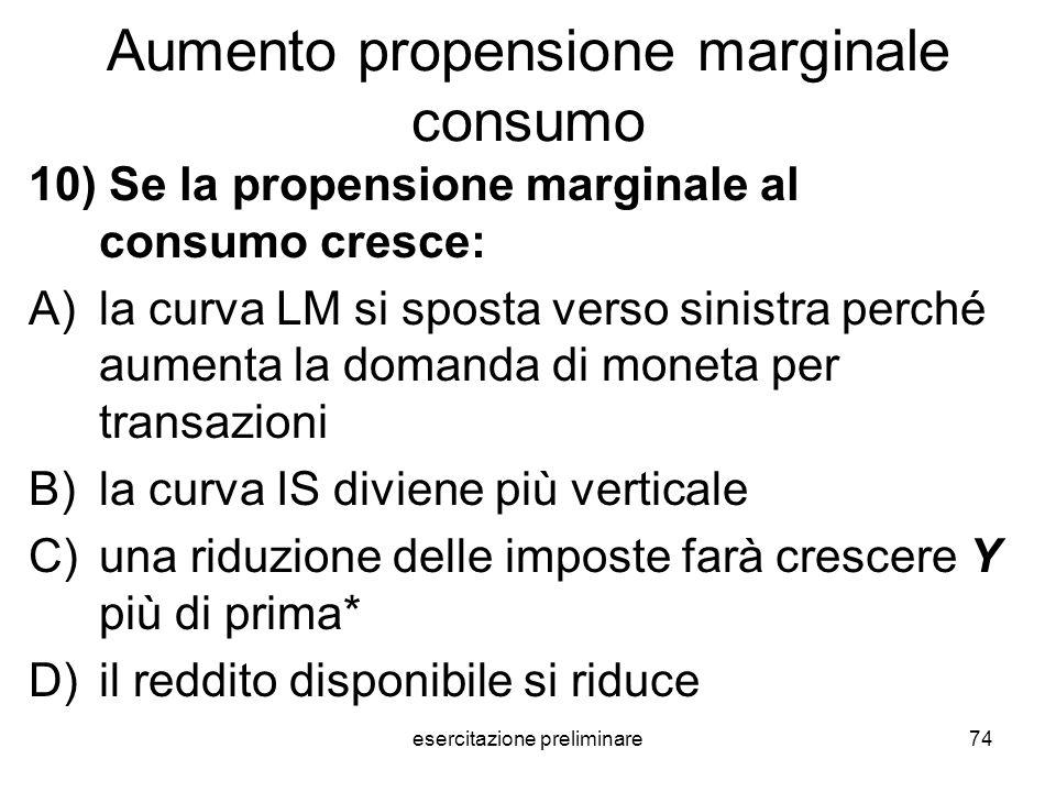 esercitazione preliminare74 Aumento propensione marginale consumo 10) Se la propensione marginale al consumo cresce: A)la curva LM si sposta verso sin