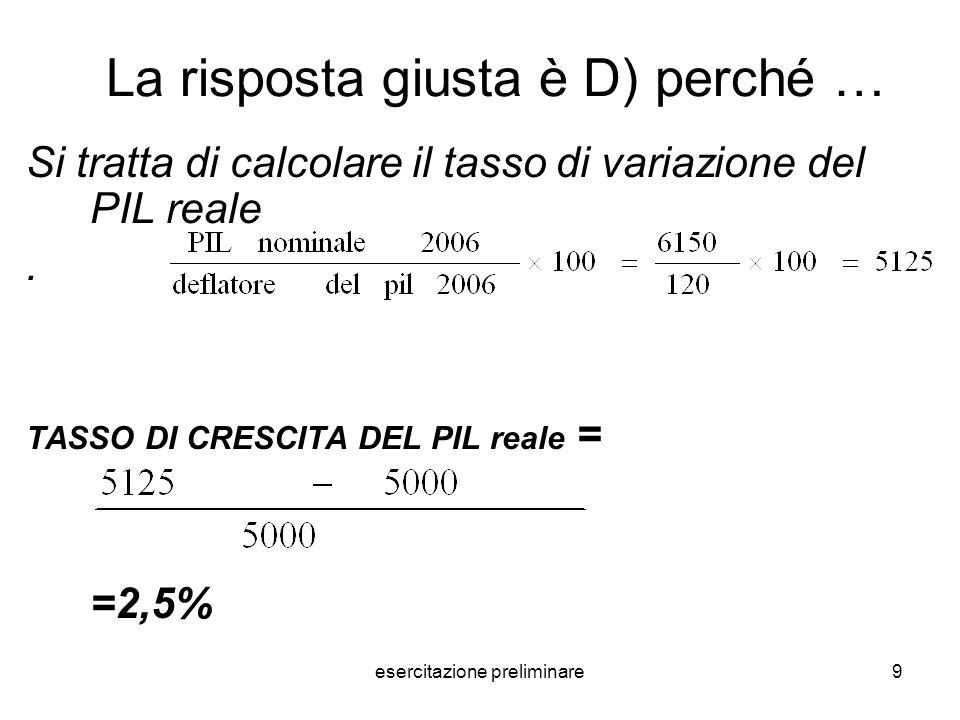 esercitazione preliminare50 La risposta giusta è A) perché … La risposta è banale perché bisogna solo sommare le componenti esogene della spesa ivi comprese le esportazioni nette, per cui si ha: Domanda esogena o moltiplicando = c 0 +I+G+NX= 85+60+160+(-20)=285