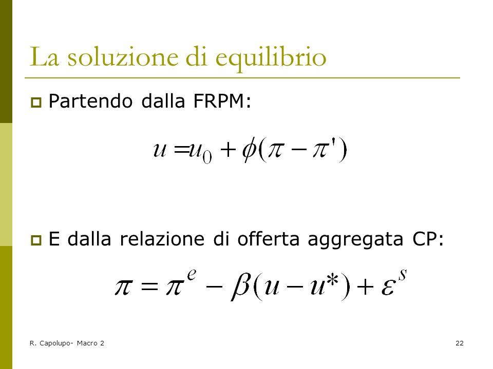 R. Capolupo- Macro 222 La soluzione di equilibrio Partendo dalla FRPM: E dalla relazione di offerta aggregata CP: