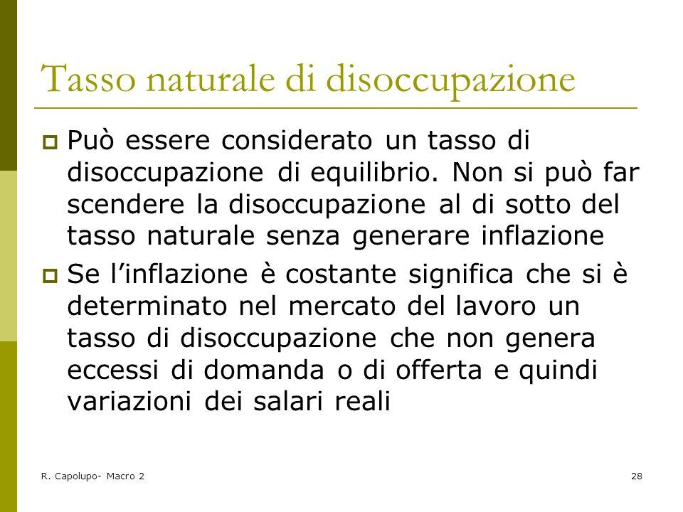 R. Capolupo- Macro 228 Tasso naturale di disoccupazione Può essere considerato un tasso di disoccupazione di equilibrio. Non si può far scendere la di