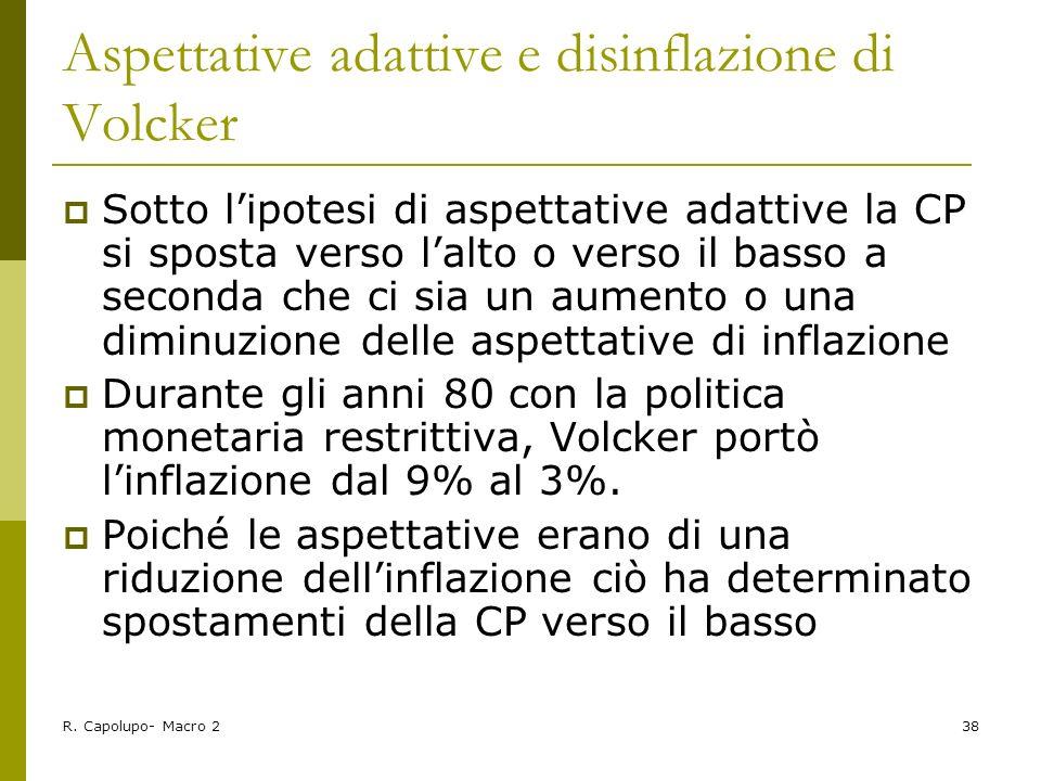 R. Capolupo- Macro 238 Aspettative adattive e disinflazione di Volcker Sotto lipotesi di aspettative adattive la CP si sposta verso lalto o verso il b
