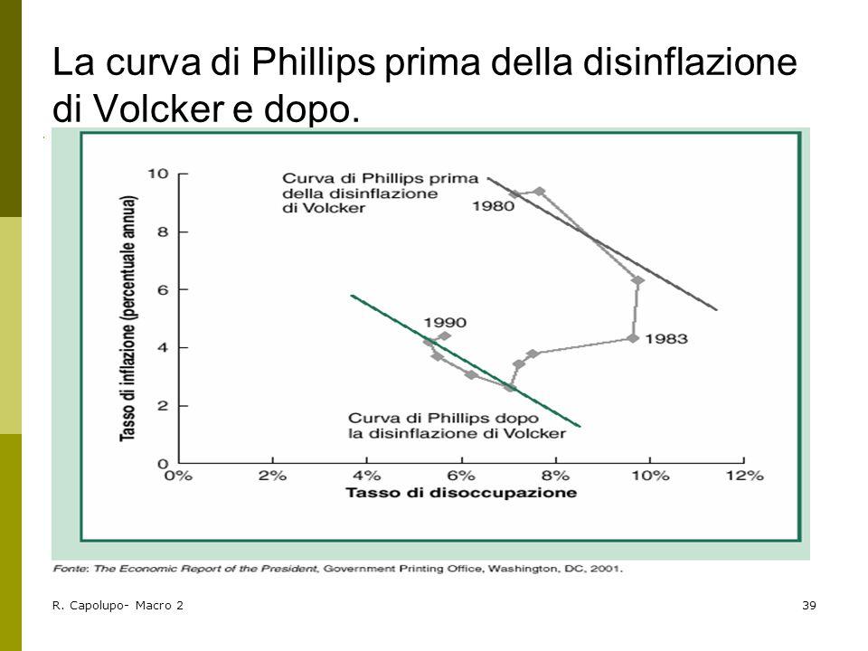 R. Capolupo- Macro 239 La curva di Phillips prima della disinflazione di Volcker e dopo.