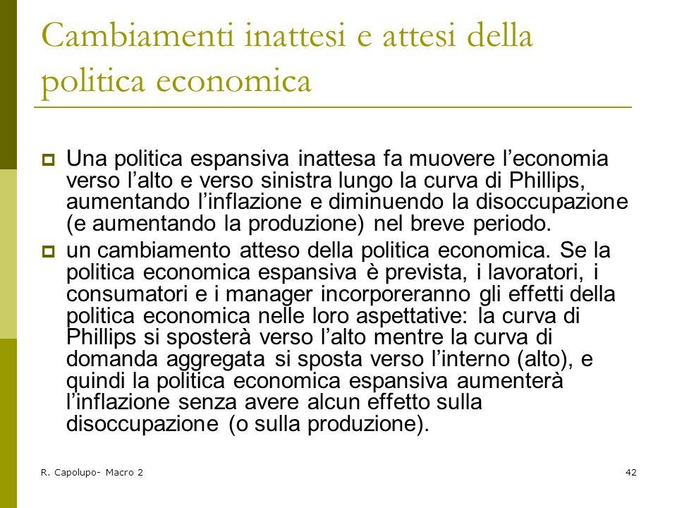 R. Capolupo- Macro 242 Cambiamenti inattesi e attesi della politica economica Una politica espansiva inattesa fa muovere leconomia verso lalto e verso