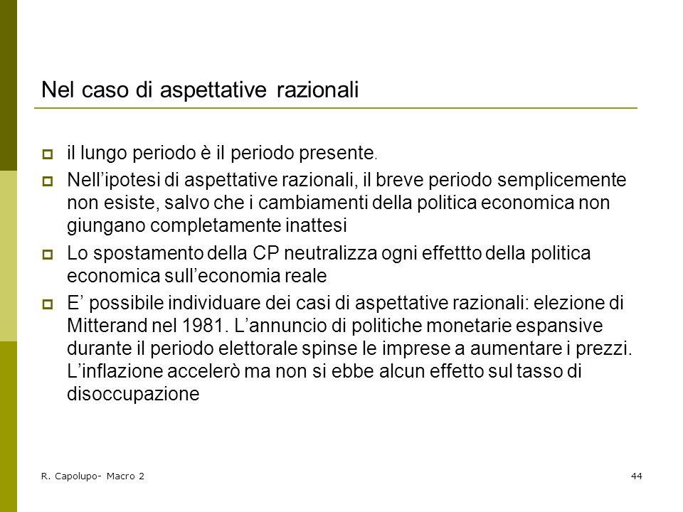 R. Capolupo- Macro 244 Nel caso di aspettative razionali il lungo periodo è il periodo presente. Nellipotesi di aspettative razionali, il breve period