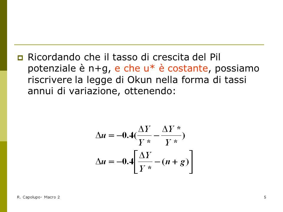 R. Capolupo- Macro 25 Ricordando che il tasso di crescita del Pil potenziale è n+g, e che u* è costante, possiamo riscrivere la legge di Okun nella fo