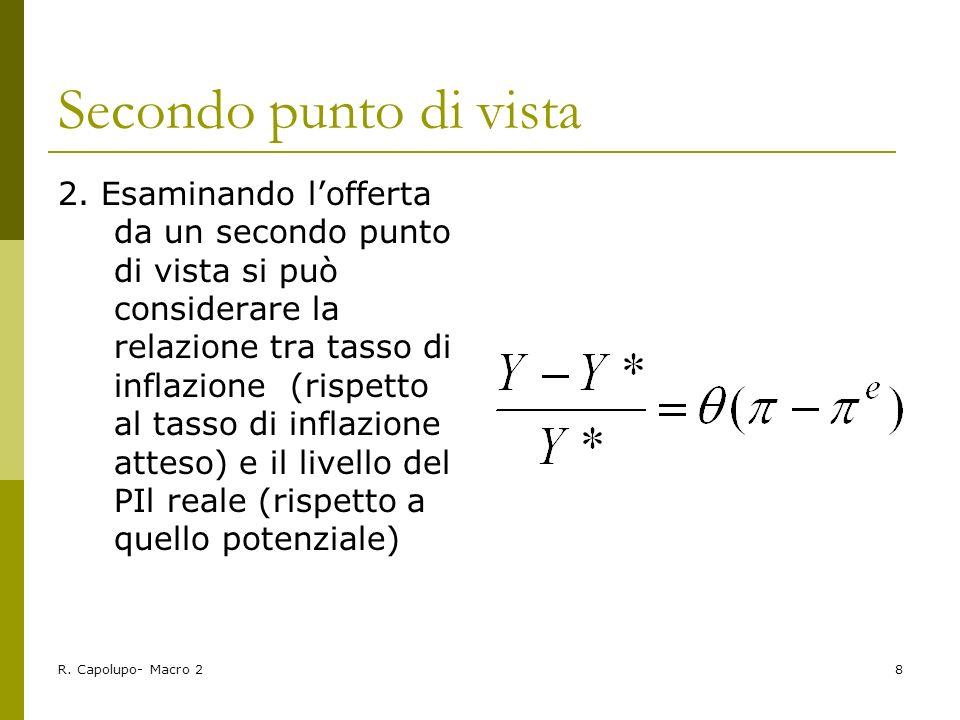 R. Capolupo- Macro 28 Secondo punto di vista 2. Esaminando lofferta da un secondo punto di vista si può considerare la relazione tra tasso di inflazio