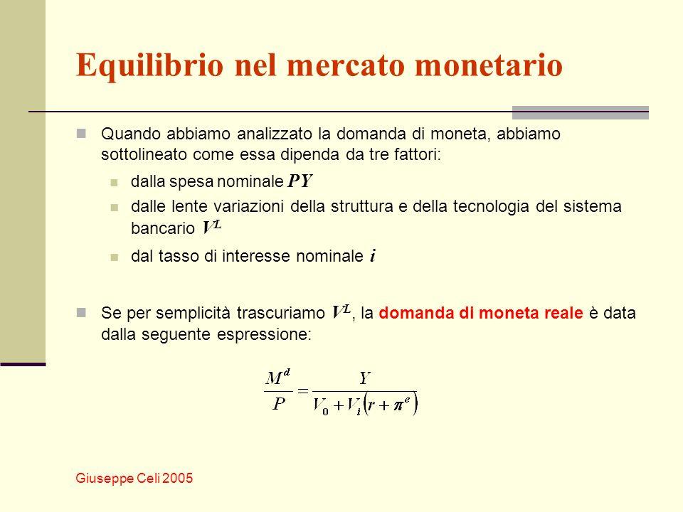 Giuseppe Celi 2005 Equilibrio nel mercato monetario Quando abbiamo analizzato la domanda di moneta, abbiamo sottolineato come essa dipenda da tre fatt