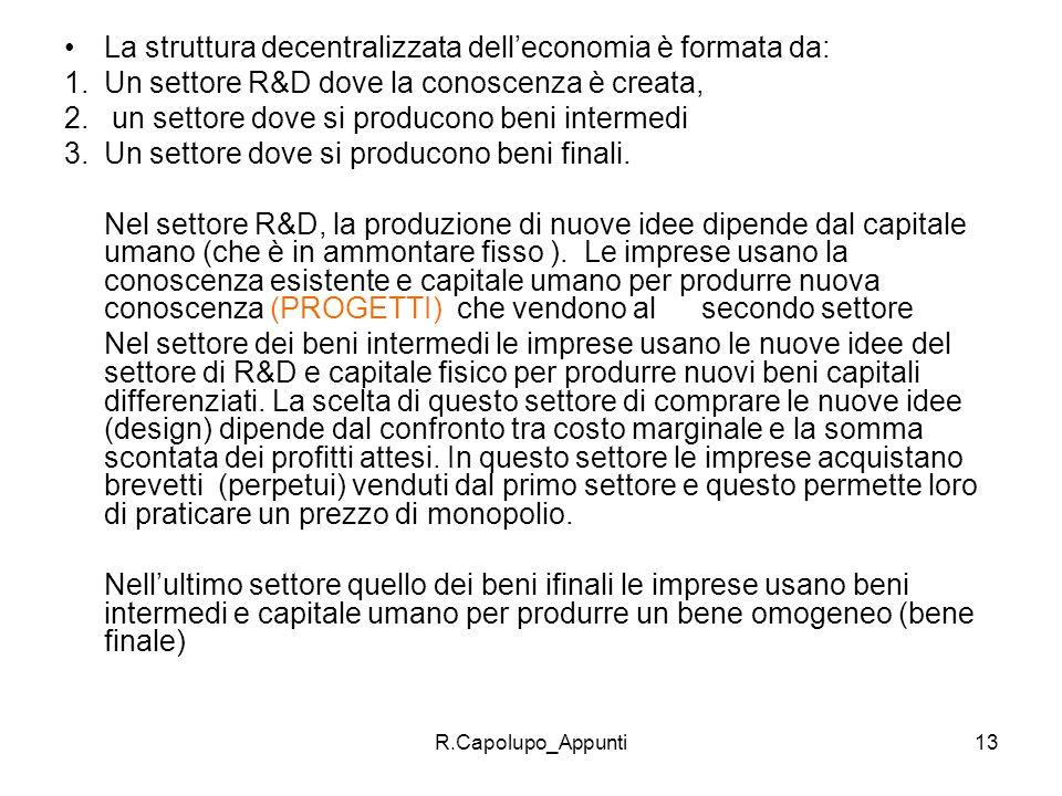 R.Capolupo_Appunti13 La struttura decentralizzata delleconomia è formata da: 1.Un settore R&D dove la conoscenza è creata, 2. un settore dove si produ