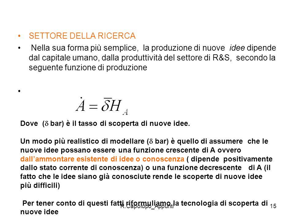R.Capolupo_Appunti15 SETTORE DELLA RICERCA Nella sua forma più semplice, la produzione di nuove idee dipende dal capitale umano, dalla produttività de