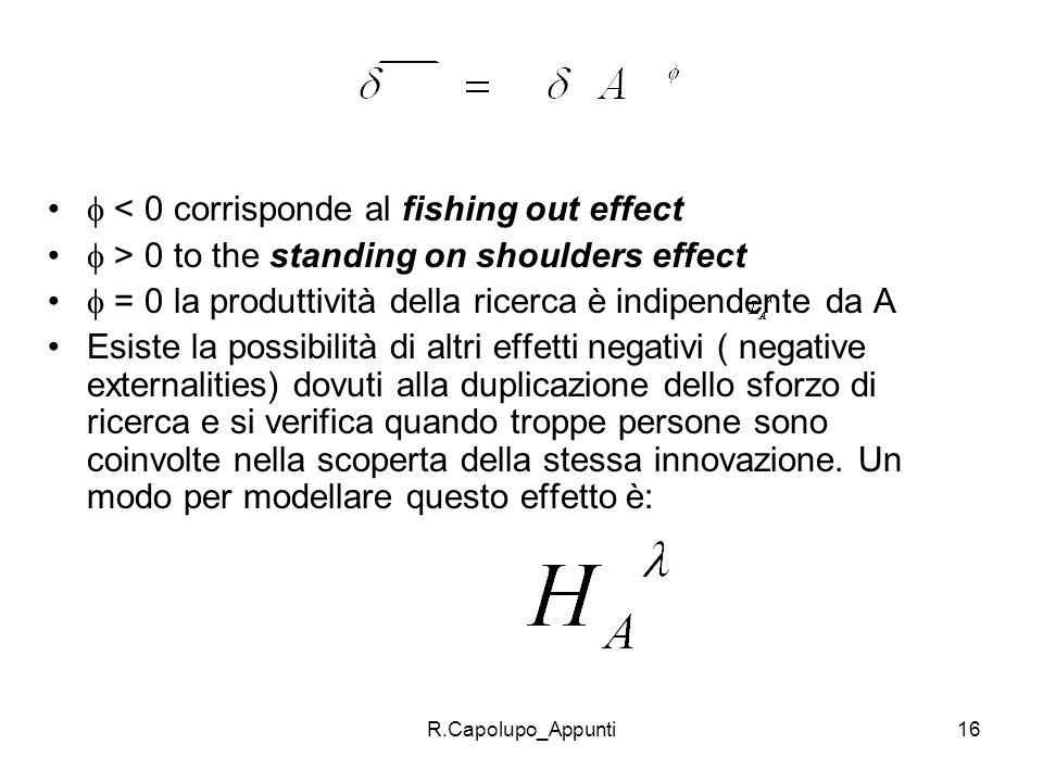 R.Capolupo_Appunti16 < 0 corrisponde al fishing out effect > 0 to the standing on shoulders effect = 0 la produttività della ricerca è indipendente da