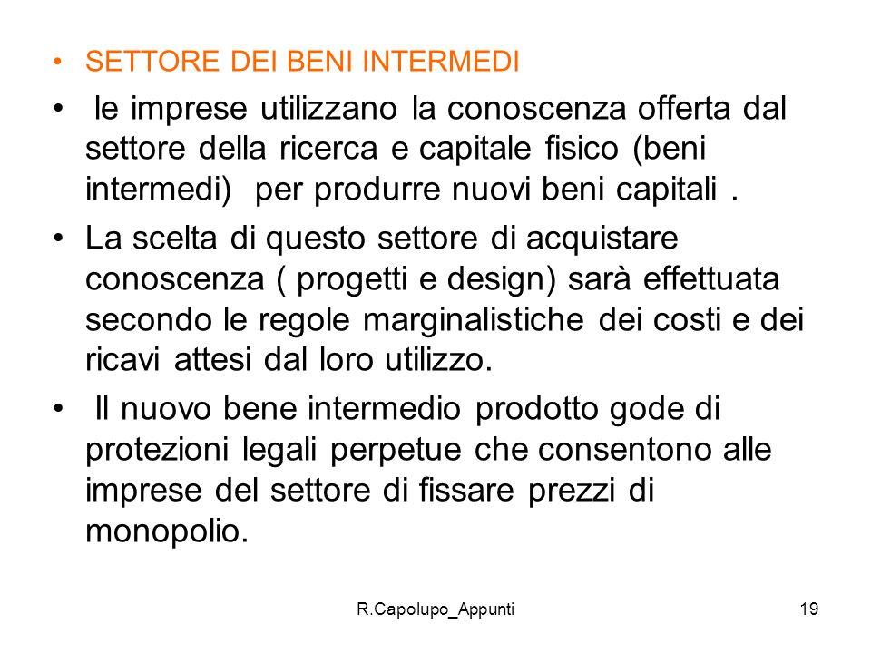 R.Capolupo_Appunti19 SETTORE DEI BENI INTERMEDI le imprese utilizzano la conoscenza offerta dal settore della ricerca e capitale fisico (beni intermed