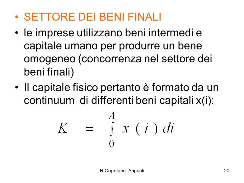 R.Capolupo_Appunti20 SETTORE DEI BENI FINALI le imprese utilizzano beni intermedi e capitale umano per produrre un bene omogeneo (concorrenza nel sett
