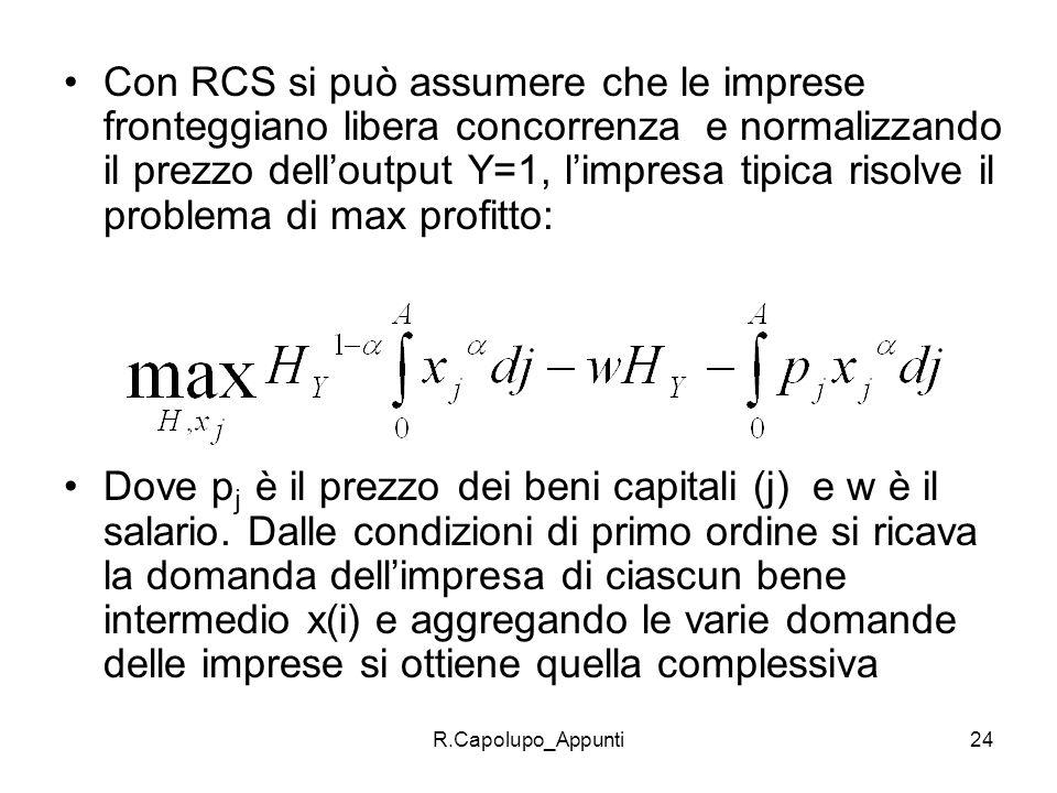 R.Capolupo_Appunti24 Con RCS si può assumere che le imprese fronteggiano libera concorrenza e normalizzando il prezzo delloutput Y=1, limpresa tipica
