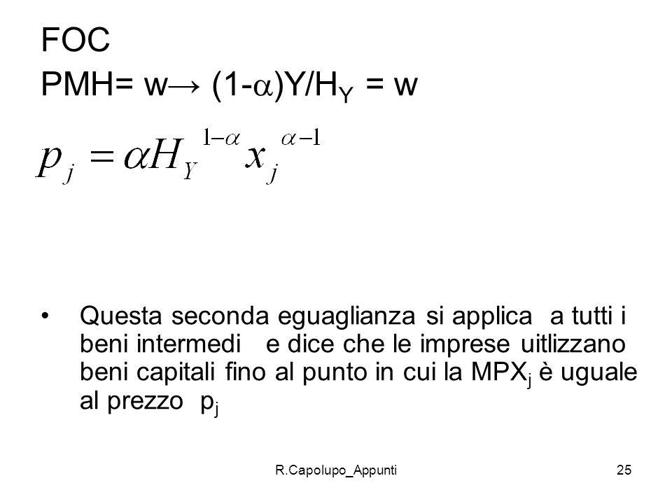 R.Capolupo_Appunti25 FOC PMH= w (1- )Y/H Y = w Questa seconda eguaglianza si applica a tutti i beni intermedi e dice che le imprese uitlizzano beni ca
