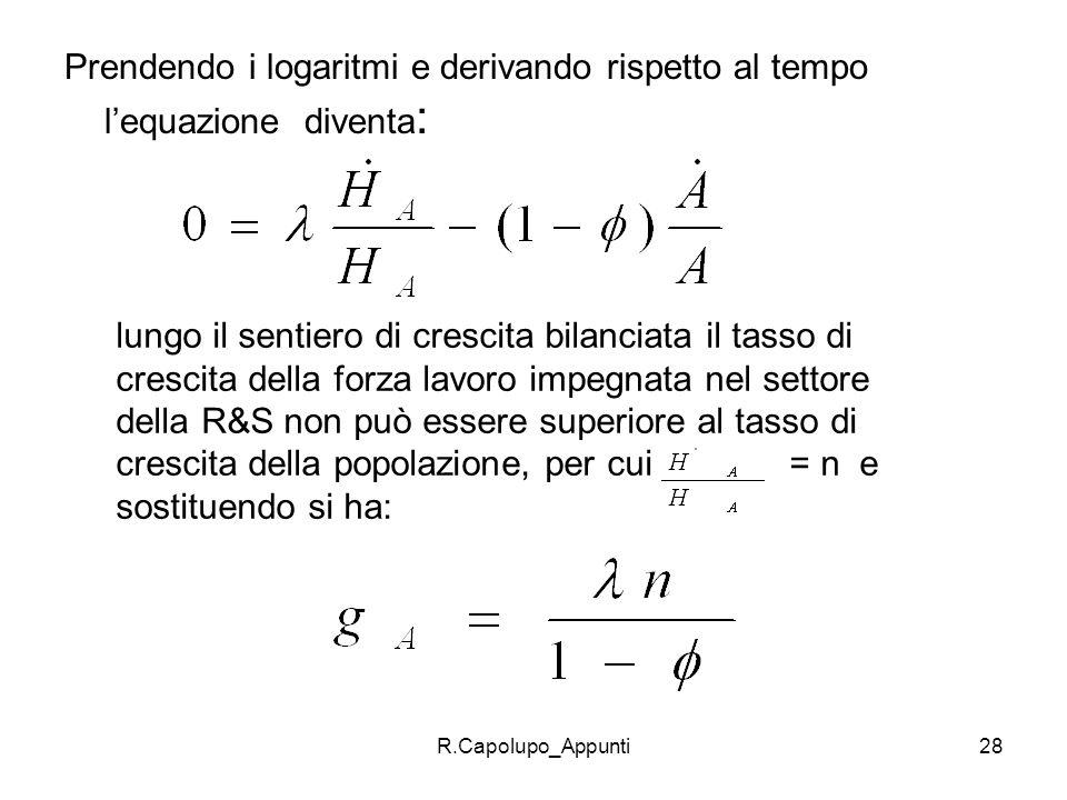 R.Capolupo_Appunti28 Prendendo i logaritmi e derivando rispetto al tempo lequazione diventa : lungo il sentiero di crescita bilanciata il tasso di cre