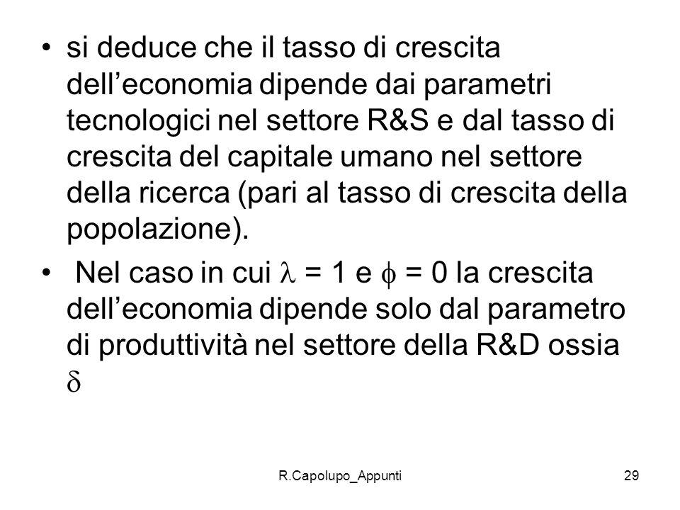 R.Capolupo_Appunti29 si deduce che il tasso di crescita delleconomia dipende dai parametri tecnologici nel settore R&S e dal tasso di crescita del cap
