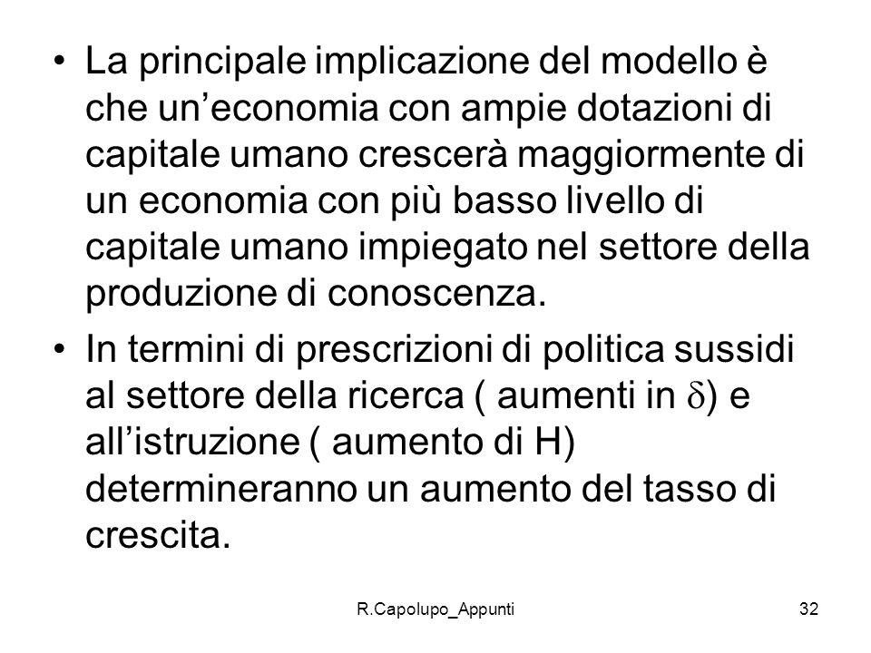 R.Capolupo_Appunti32 La principale implicazione del modello è che uneconomia con ampie dotazioni di capitale umano crescerà maggiormente di un economi