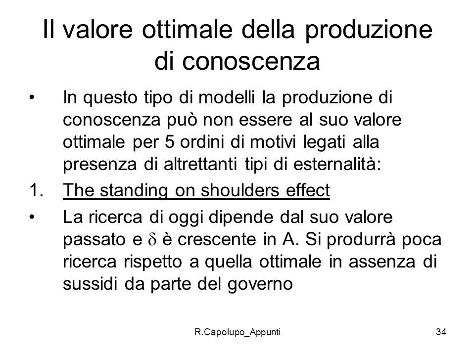 R.Capolupo_Appunti34 Il valore ottimale della produzione di conoscenza In questo tipo di modelli la produzione di conoscenza può non essere al suo val