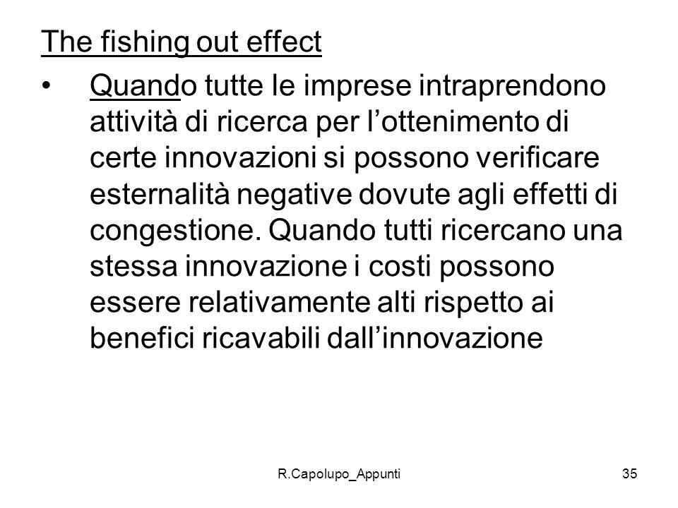 R.Capolupo_Appunti35 The fishing out effect Quando tutte le imprese intraprendono attività di ricerca per lottenimento di certe innovazioni si possono