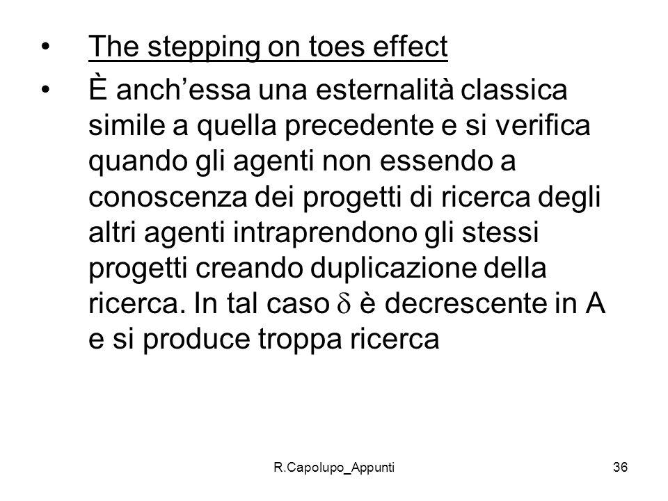 R.Capolupo_Appunti36 The stepping on toes effect È anchessa una esternalità classica simile a quella precedente e si verifica quando gli agenti non es