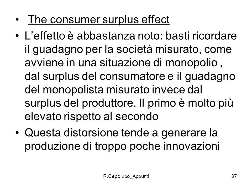 R.Capolupo_Appunti37 The consumer surplus effect Leffetto è abbastanza noto: basti ricordare il guadagno per la società misurato, come avviene in una