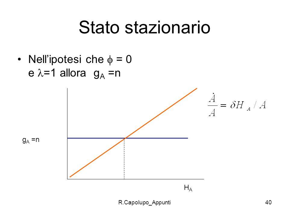 R.Capolupo_Appunti40 Stato stazionario Nellipotesi che = 0 e =1 allora g A =n g A =n HAHA