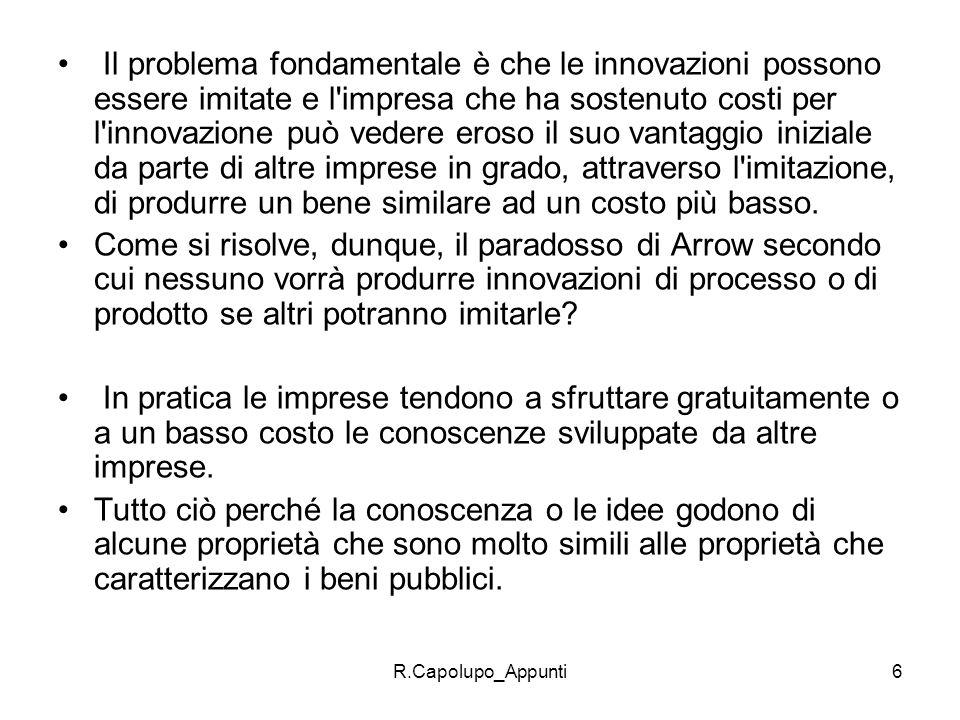 R.Capolupo_Appunti6 Il problema fondamentale è che le innovazioni possono essere imitate e l'impresa che ha sostenuto costi per l'innovazione può vede