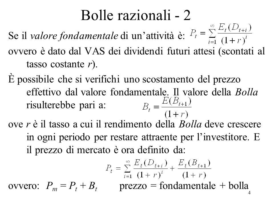 4 Bolle razionali - 2 Se il valore fondamentale di unattività è: ovvero è dato dal VAS dei dividendi futuri attesi (scontati al tasso costante r). È p