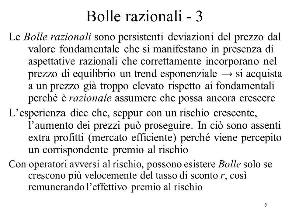 5 Bolle razionali - 3 Le Bolle razionali sono persistenti deviazioni del prezzo dal valore fondamentale che si manifestano in presenza di aspettative