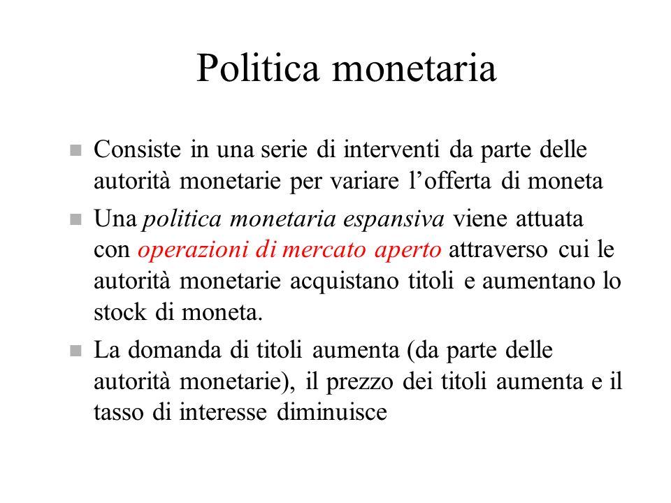 Politica monetaria n Consiste in una serie di interventi da parte delle autorità monetarie per variare lofferta di moneta n Una politica monetaria esp