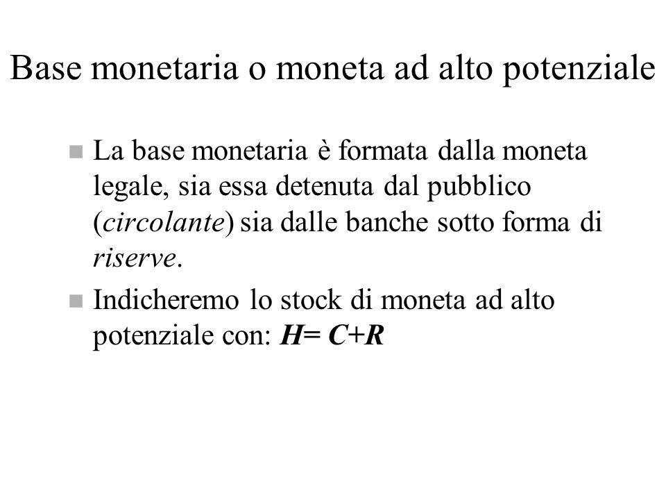 Base monetaria o moneta ad alto potenziale n La base monetaria è formata dalla moneta legale, sia essa detenuta dal pubblico (circolante) sia dalle ba
