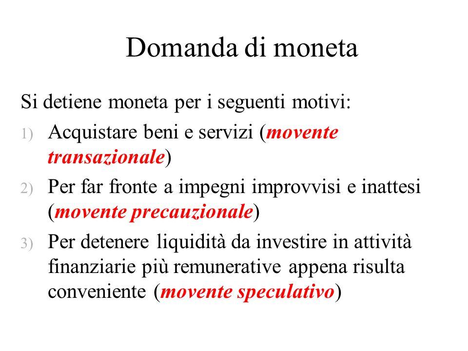 Domanda di moneta Si detiene moneta per i seguenti motivi: 1) Acquistare beni e servizi (movente transazionale) 2) Per far fronte a impegni improvvisi
