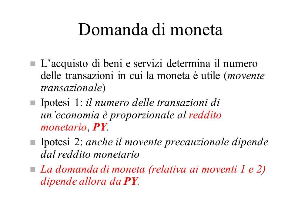 Domanda e offerta di moneta n Nel mercato monetario la domanda deve essere uguale allofferta: M s = M d Ovvero [1/ ] H= PYL(i) n Questa relazione di uguaglianza tra offerta e domanda di moneta costituirà la curva LM