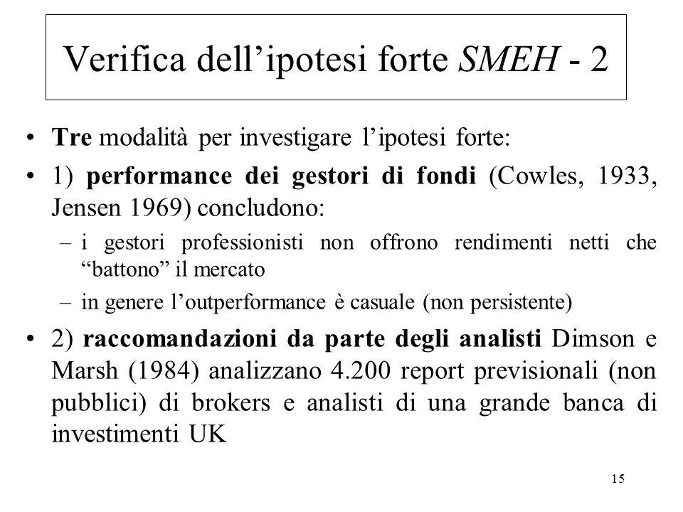 15 Tre modalità per investigare lipotesi forte: 1) performance dei gestori di fondi (Cowles, 1933, Jensen 1969) concludono: –i gestori professionisti