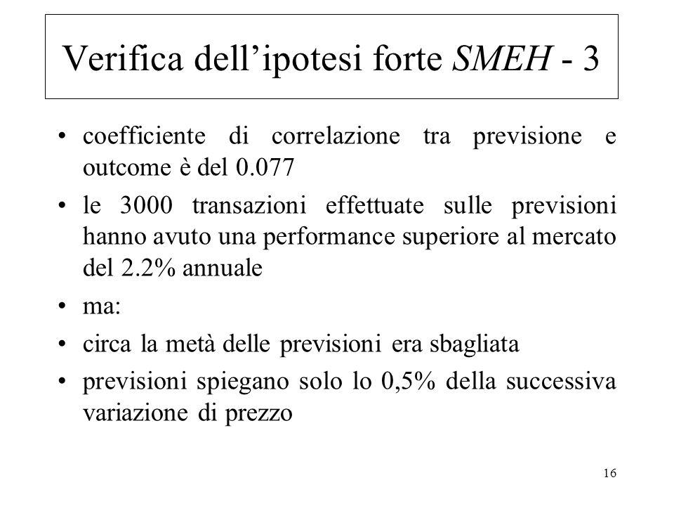 16 coefficiente di correlazione tra previsione e outcome è del 0.077 le 3000 transazioni effettuate sulle previsioni hanno avuto una performance super