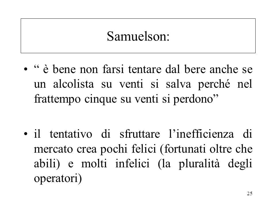 25 Samuelson: è bene non farsi tentare dal bere anche se un alcolista su venti si salva perché nel frattempo cinque su venti si perdono il tentativo d