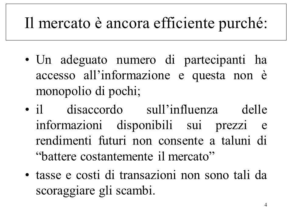 4 Il mercato è ancora efficiente purché: Un adeguato numero di partecipanti ha accesso allinformazione e questa non è monopolio di pochi; il disaccord