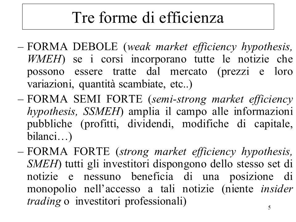 5 Tre forme di efficienza –FORMA DEBOLE (weak market efficiency hypothesis, WMEH) se i corsi incorporano tutte le notizie che possono essere tratte da