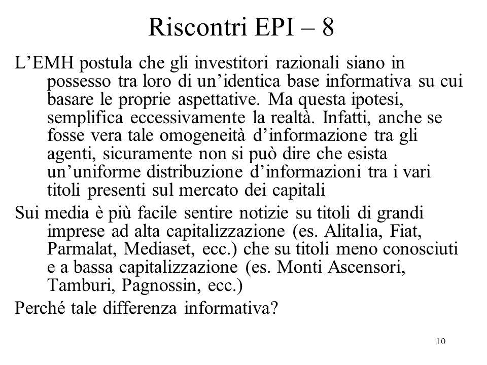 10 Riscontri EPI – 8 LEMH postula che gli investitori razionali siano in possesso tra loro di unidentica base informativa su cui basare le proprie aspettative.