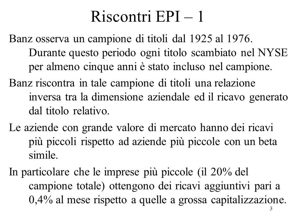 3 Riscontri EPI – 1 Banz osserva un campione di titoli dal 1925 al 1976.