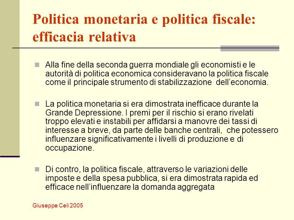 Giuseppe Celi 2005 Politica monetaria e politica fiscale: efficacia relativa Alla fine della seconda guerra mondiale gli economisti e le autorità di politica economica consideravano la politica fiscale come il principale strumento di stabilizzazione delleconomia.