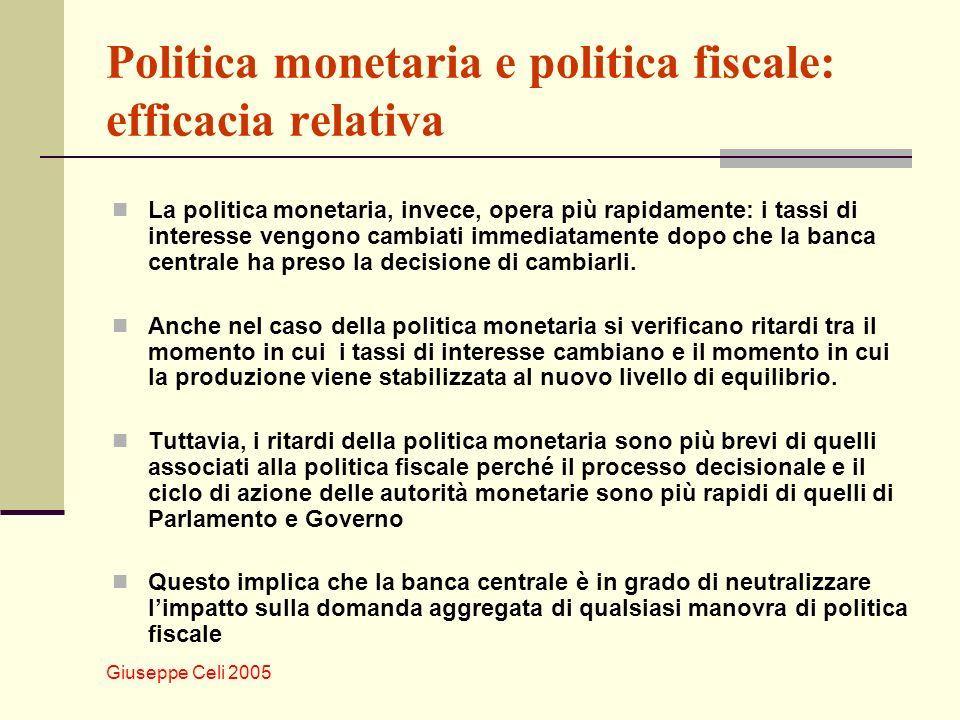 Giuseppe Celi 2005 Politica monetaria e politica fiscale: efficacia relativa La politica monetaria, invece, opera più rapidamente: i tassi di interesse vengono cambiati immediatamente dopo che la banca centrale ha preso la decisione di cambiarli.