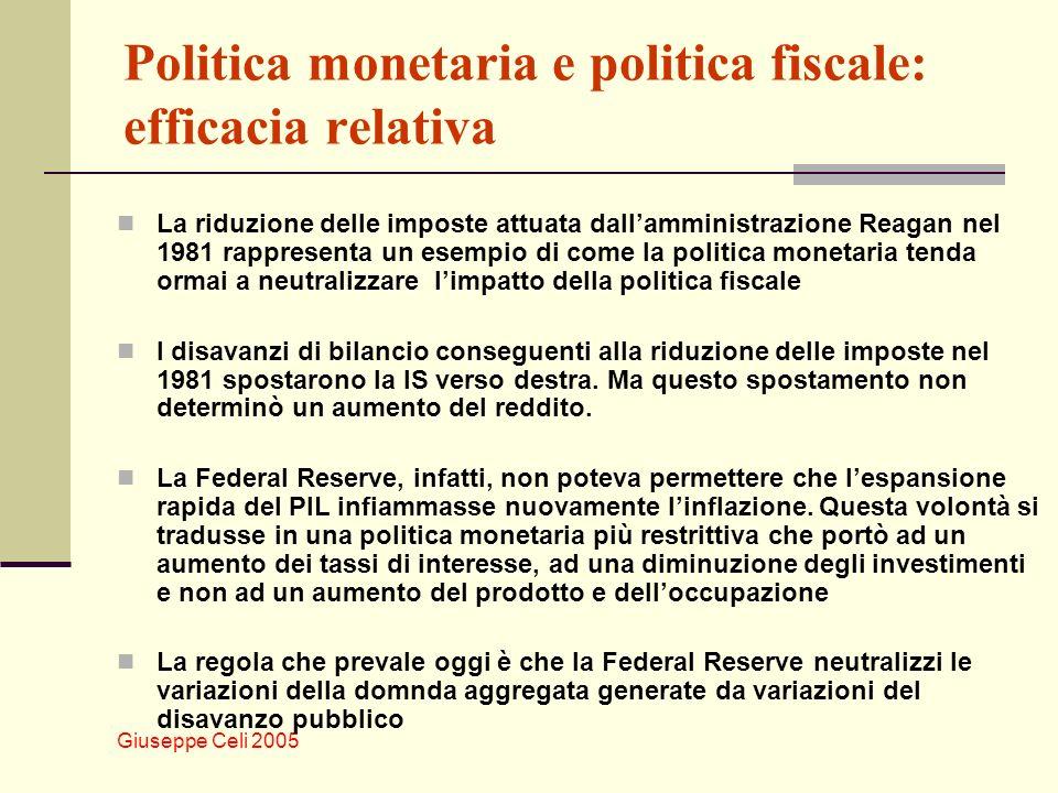 Giuseppe Celi 2005 Politica monetaria e politica fiscale: efficacia relativa La riduzione delle imposte attuata dallamministrazione Reagan nel 1981 rappresenta un esempio di come la politica monetaria tenda ormai a neutralizzare limpatto della politica fiscale I disavanzi di bilancio conseguenti alla riduzione delle imposte nel 1981 spostarono la IS verso destra.