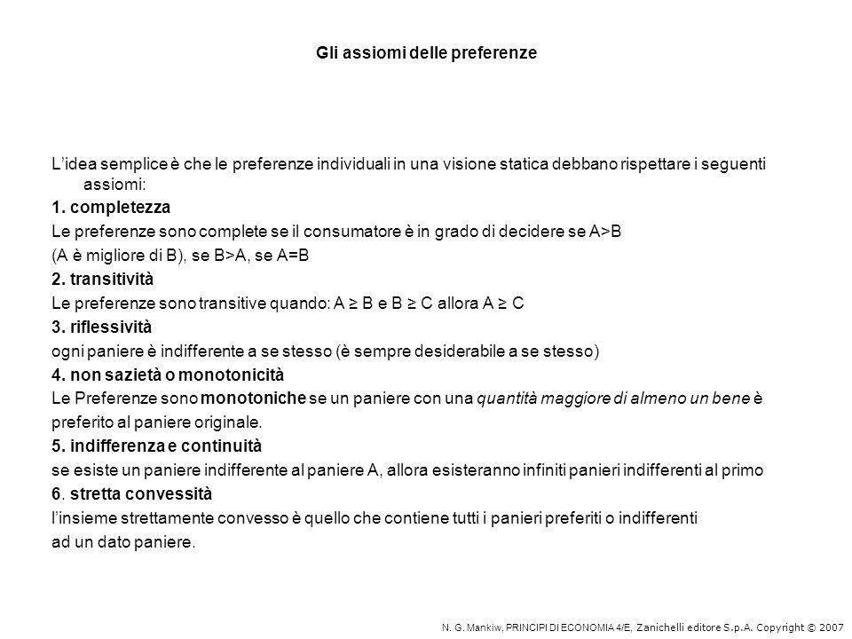 Gli assiomi delle preferenze Lidea semplice è che le preferenze individuali in una visione statica debbano rispettare i seguenti assiomi: 1. completez
