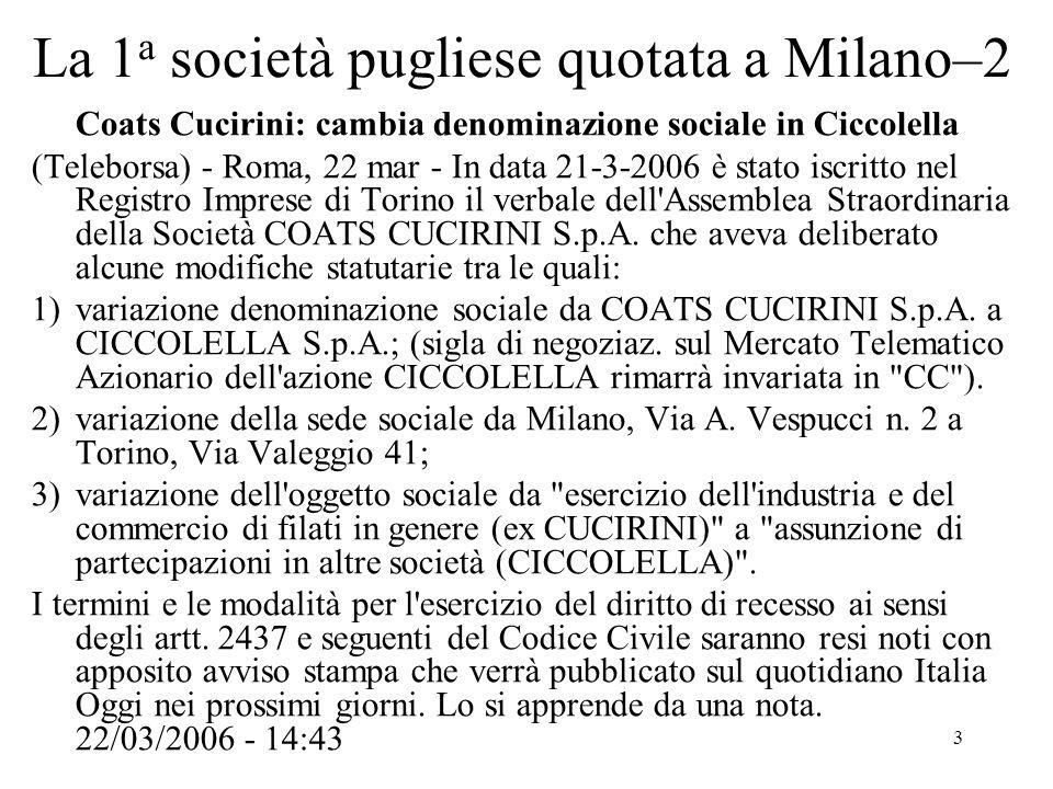 3 La 1 a società pugliese quotata a Milano–2 Coats Cucirini: cambia denominazione sociale in Ciccolella (Teleborsa) - Roma, 22 mar - In data 21-3-2006 è stato iscritto nel Registro Imprese di Torino il verbale dell Assemblea Straordinaria della Società COATS CUCIRINI S.p.A.
