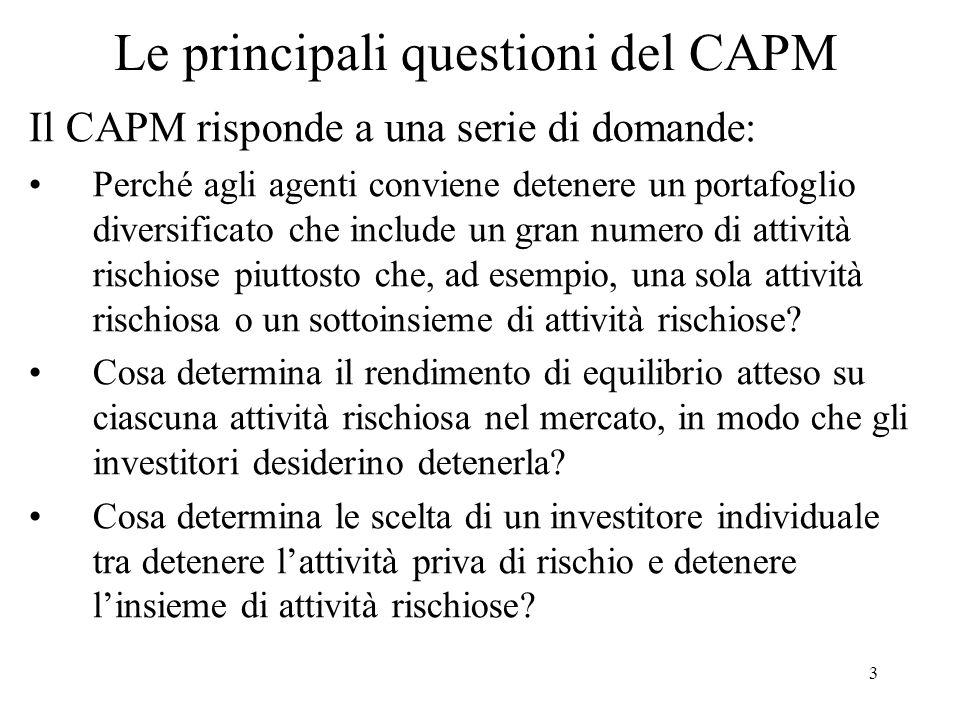 34 Derivazione del CAPM - 3 Principio di separazione: Dunque, linvestitore compie due scelte separate: 1.In base a rendimenti attesi, var e covar calcola quote efficienti portafoglio azioni (x i *) su frontiera efficiente.