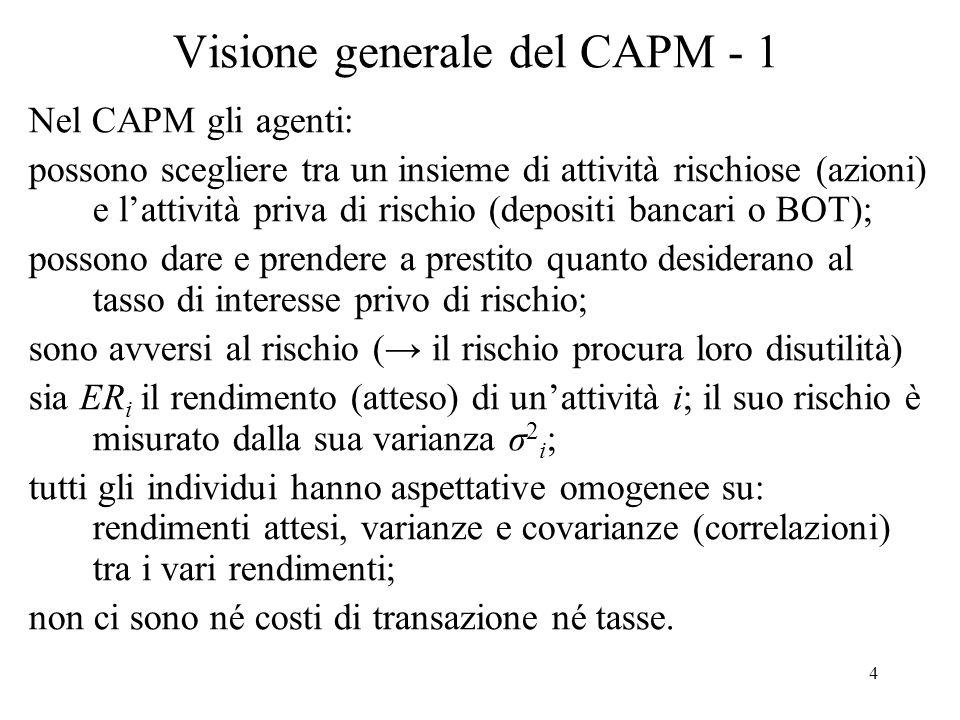 45 Derivazione del CAPM - 14 Il beta e il rischio sistematico: Il risk premium (rp i ) è il rendimento di unattività rischiosa in eccesso allattività sicura: (14) ER i r + rp i da cui, in base al CAPM: (15) rp i = i (ER m – r) ovvero: (16) rp i = m cov(R i, R m ) NB: secondo il CAPM, il rendimento in eccesso dellattività i dipende solo dalla sua cov col portafoglio di mercato e rendimento atteso in eccesso di i rispetto a j da i / j : (17) (ER i – r)/(ER j – r) = i / j Il portafoglio di mercato ha =1; j =1 azioni neutrali; j >1 azioni aggressive; j <1 azioni difensive.