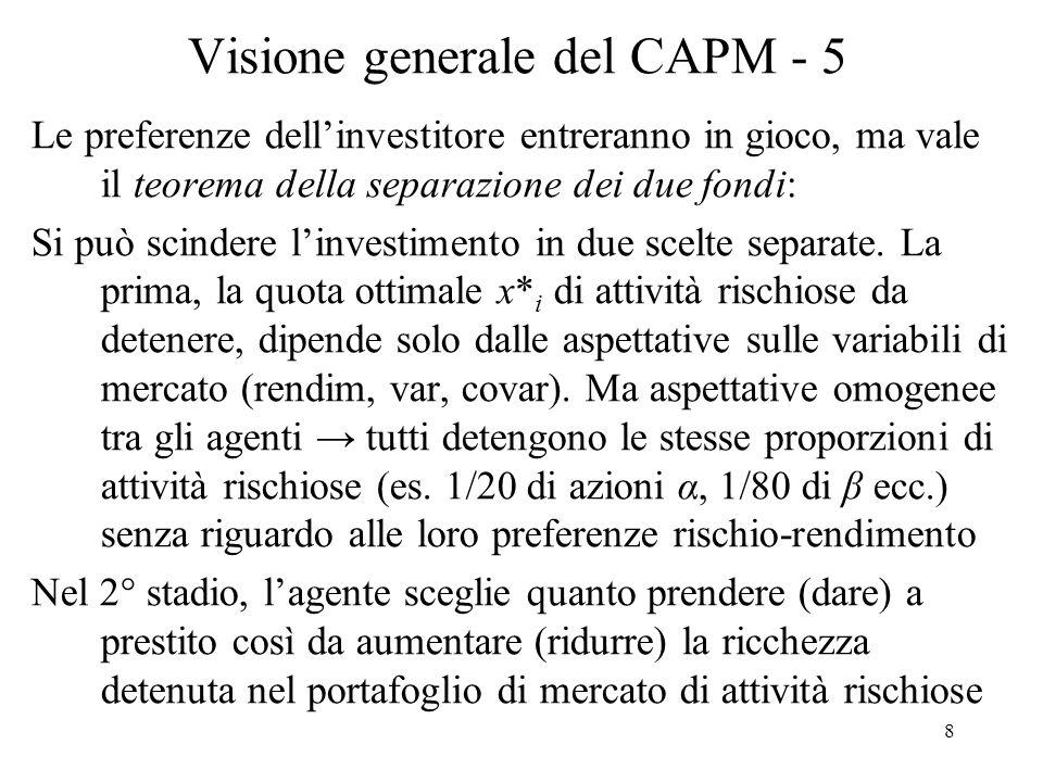 49 Derivazione del CAPM - 18 Il CAPM con processo (ARCH) dà: (21) E t R m t+1 – r t = 2 t per cui i rendimenti di equilibrio attesi: (i) variano nel tempo; (ii) dipendono dalle informazioni disponibili al tempo t, cioè 2 t.