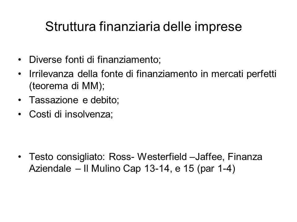 Struttura finanziaria delle imprese Diverse fonti di finanziamento; Irrilevanza della fonte di finanziamento in mercati perfetti (teorema di MM); Tass
